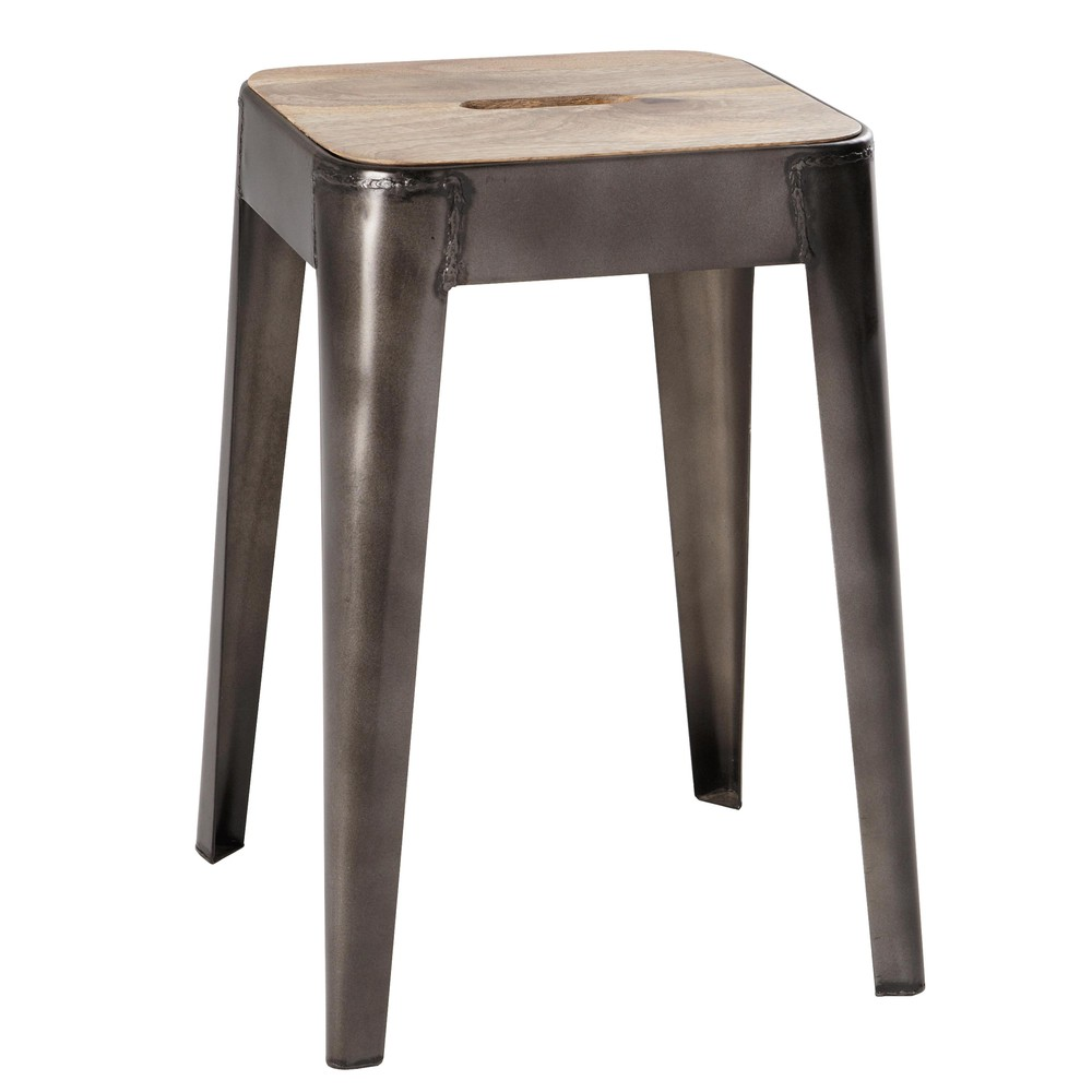 Hocker aus mangoholz und metall manufacture maisons du monde for Bar planteur maison du monde