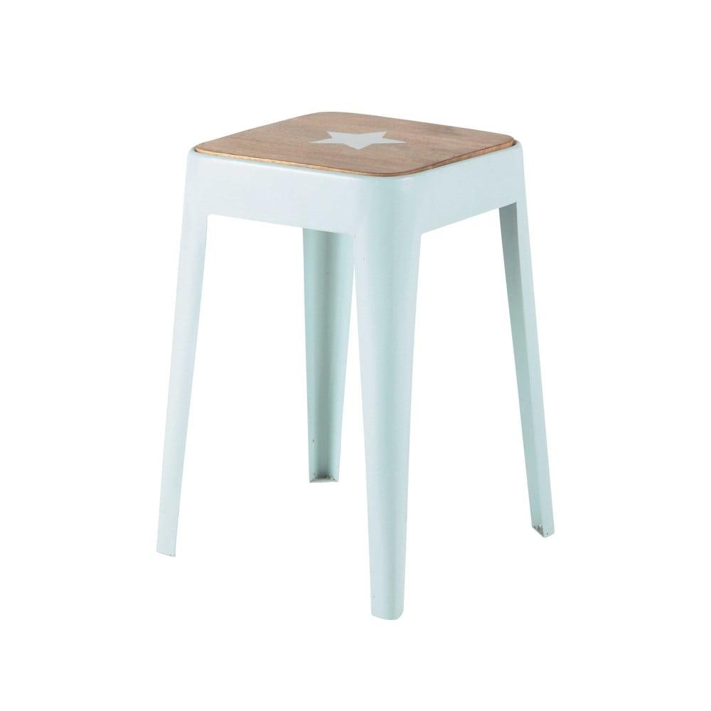 hocker aus metall und mangoholz blau bloom maisons du monde. Black Bedroom Furniture Sets. Home Design Ideas