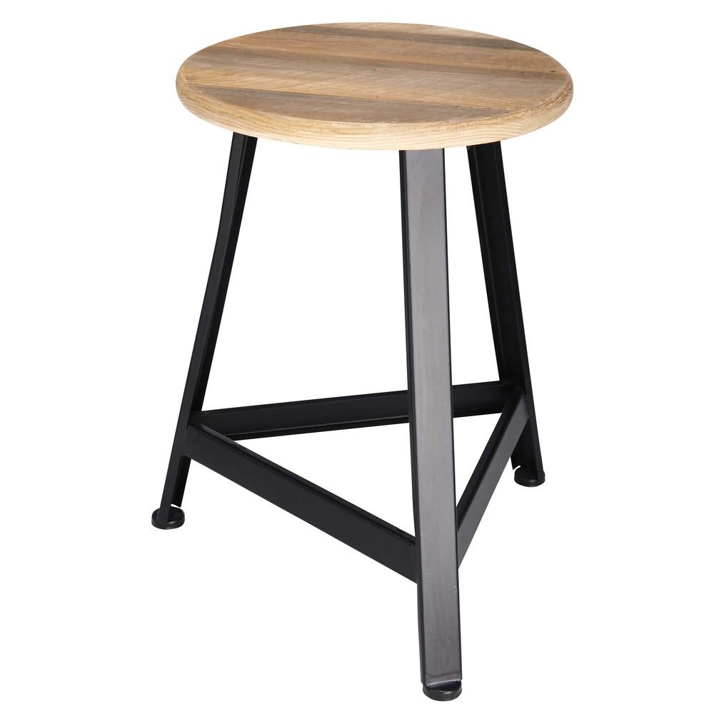 hocker aus tannenholz und schwarzem metall mathurin. Black Bedroom Furniture Sets. Home Design Ideas