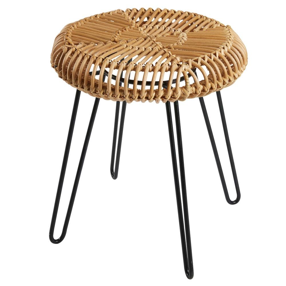 hocker bintang aus weide und metall schwarz maisons du monde. Black Bedroom Furniture Sets. Home Design Ideas