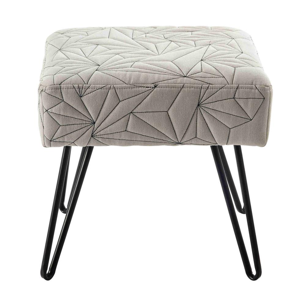 hocker darryl aus grauer baumwolle und metall maisons du. Black Bedroom Furniture Sets. Home Design Ideas