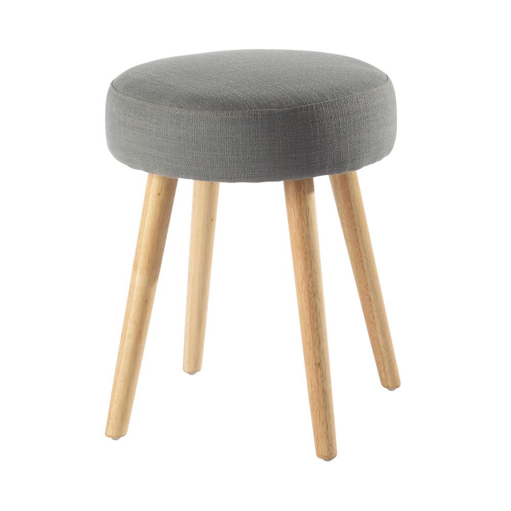 hocker pin 39 up im vintage stil aus stoff und holz grau. Black Bedroom Furniture Sets. Home Design Ideas