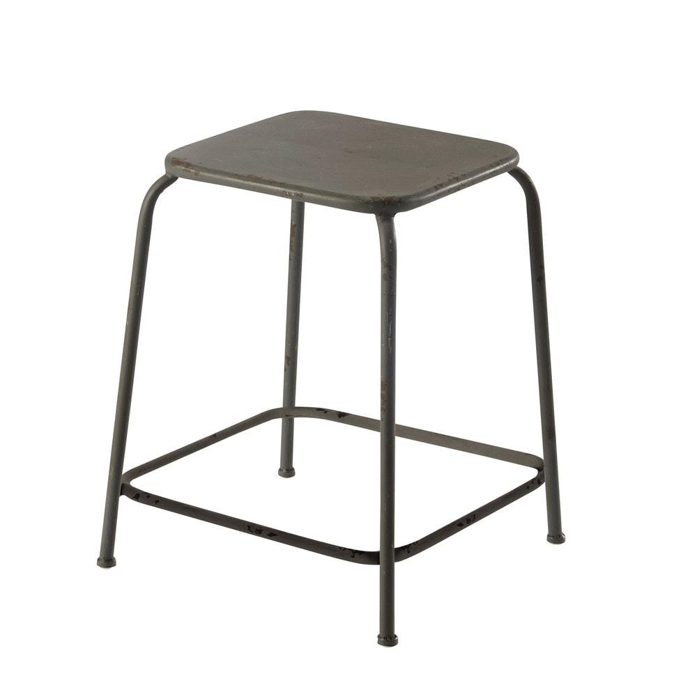 hocker ronan aus metall grau maisons du monde. Black Bedroom Furniture Sets. Home Design Ideas