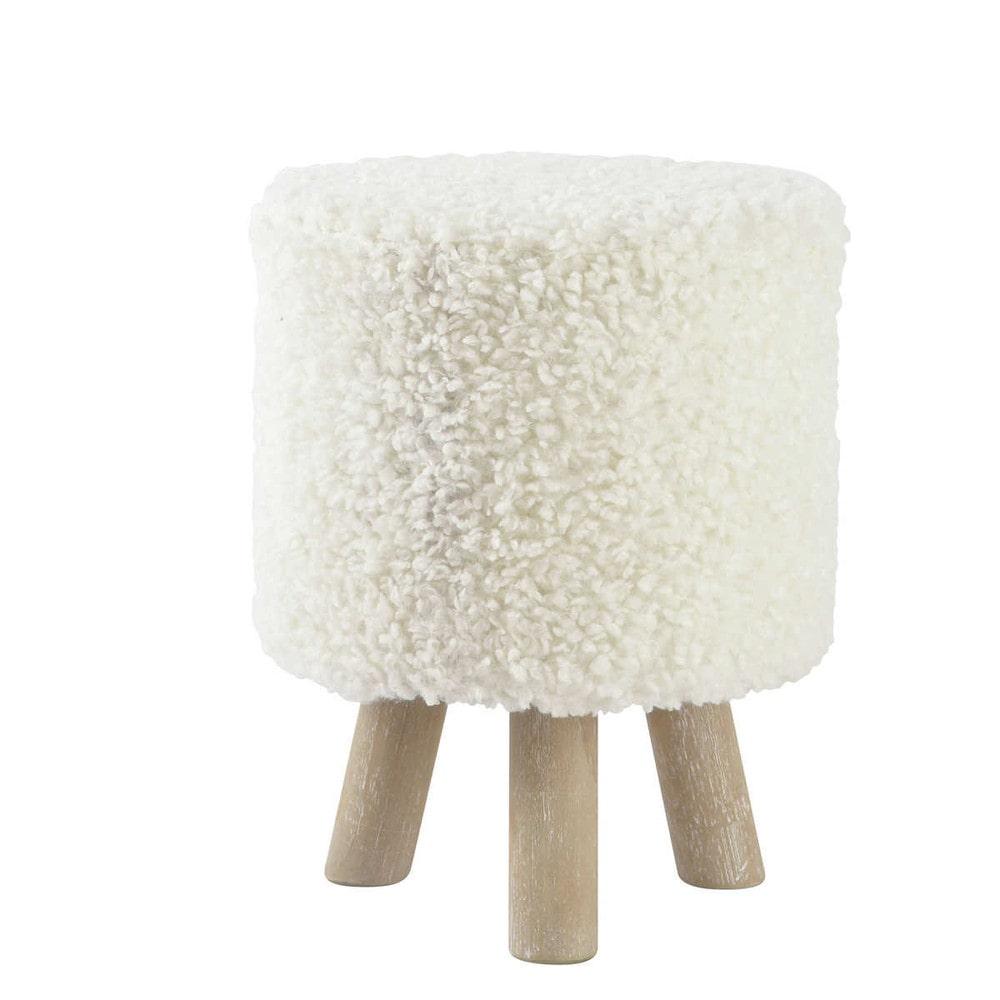 hocker sitzpuff alpaga aus kunstwolle und holz wei. Black Bedroom Furniture Sets. Home Design Ideas