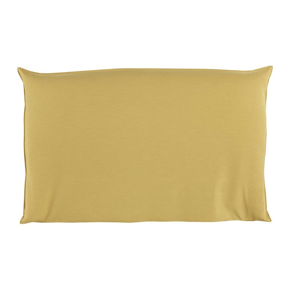 Hoes voor hoofdeinde bed 180 cm breed mosterdgeel soft maisons du monde - Decoratie bed ...