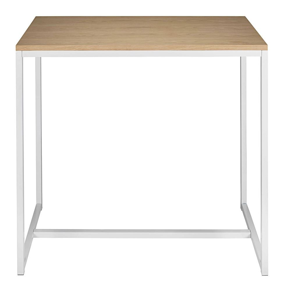 Hoge tafel in wit metaal l 120 cm igloo maisons du monde for Table de cuisine maison du monde