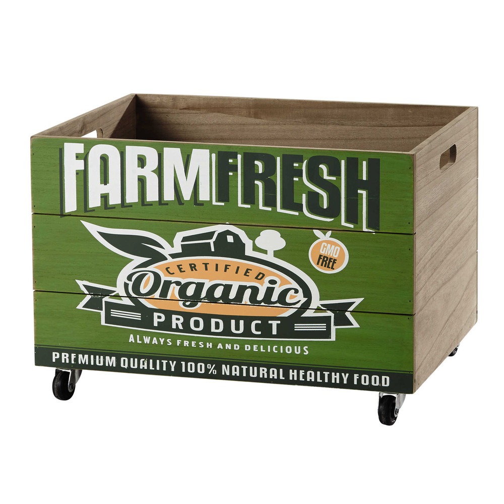 holzkiste farm fresh auf rollen 35 x 50 cm gr n maisons du monde. Black Bedroom Furniture Sets. Home Design Ideas