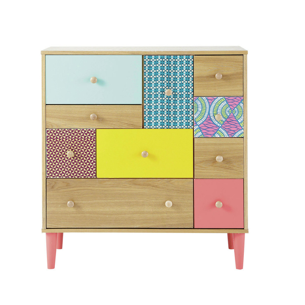 holzkommode b 84 cm bunt bedruckt bamako maisons du monde. Black Bedroom Furniture Sets. Home Design Ideas