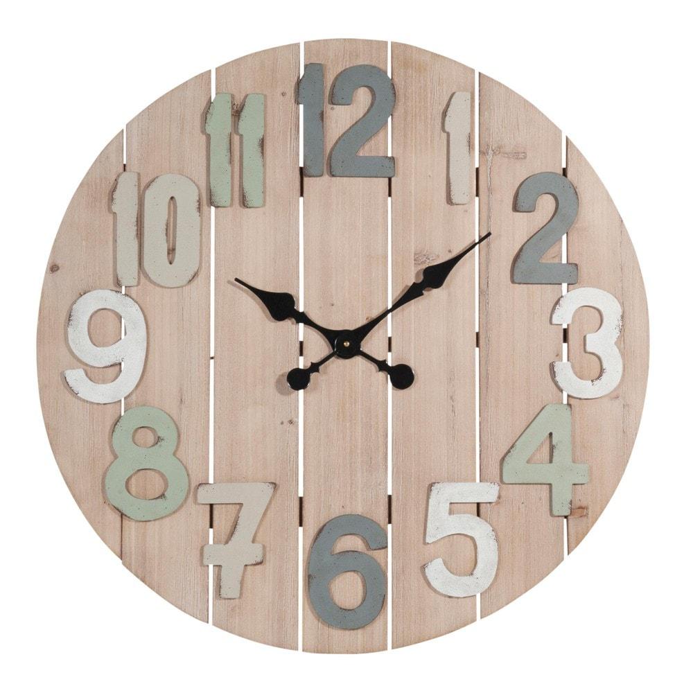 horloge lattes en bois d 70 cm montroi maisons du monde. Black Bedroom Furniture Sets. Home Design Ideas