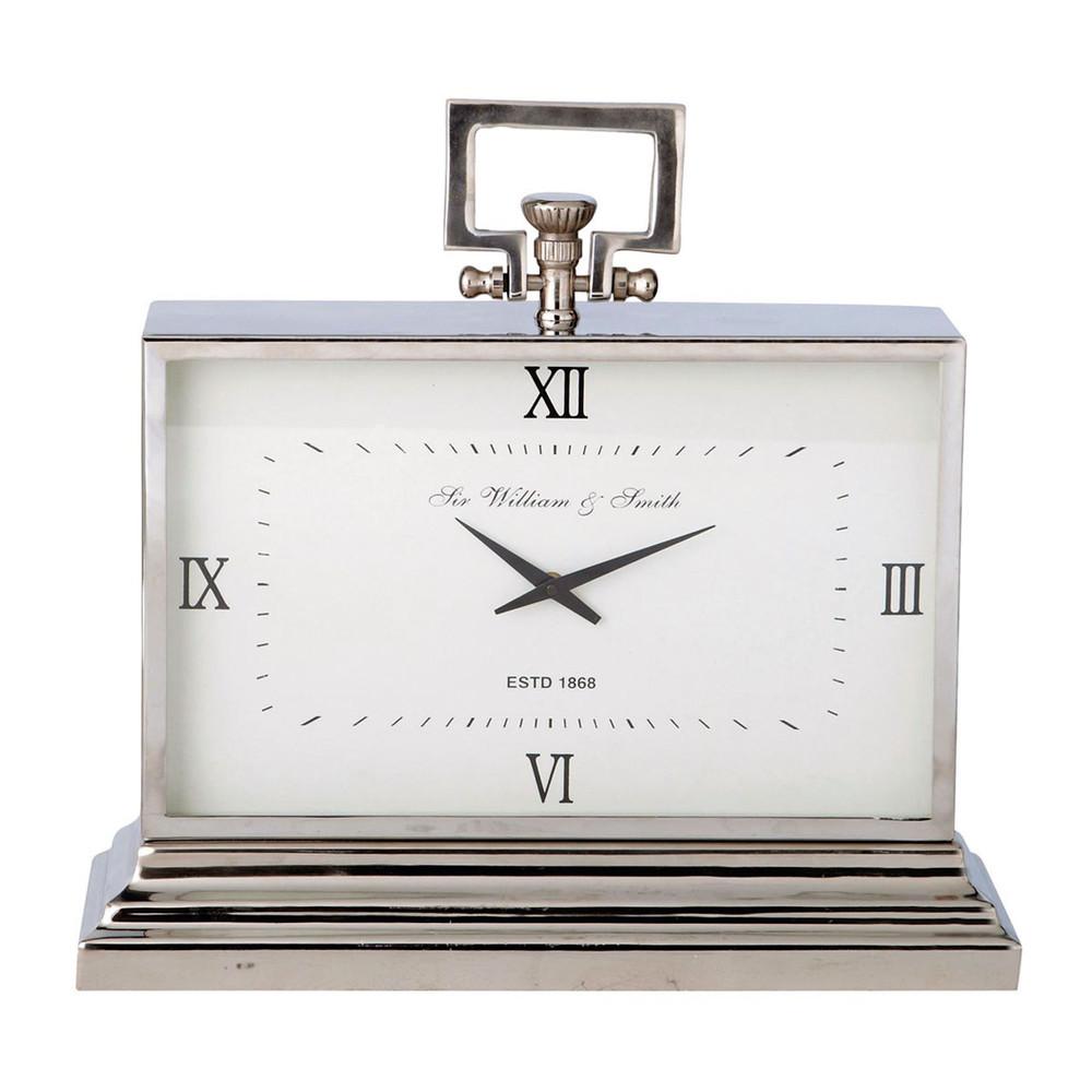 Horloge poser en m tal effet chrom kingston maisons - Horloge a poser design ...