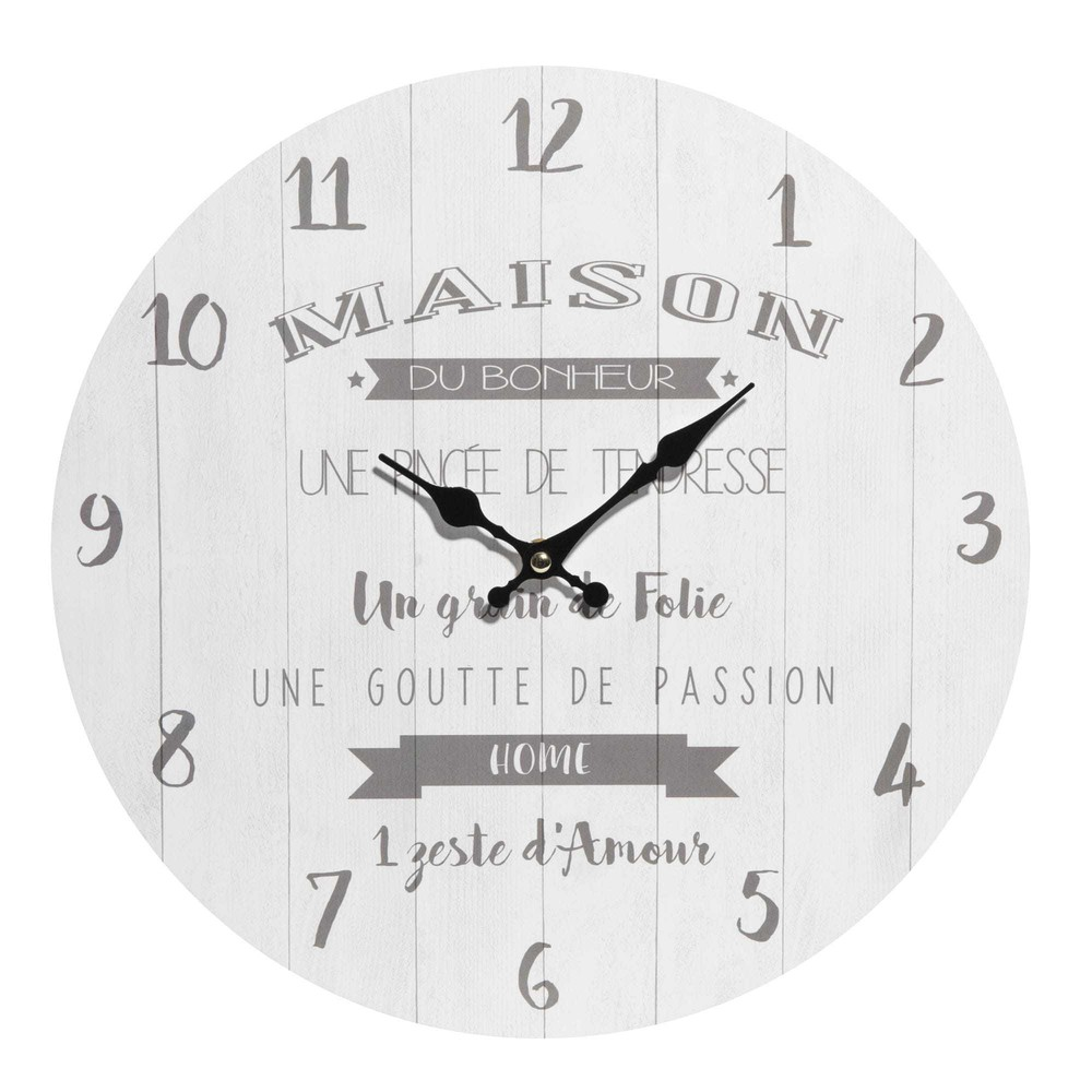 horloge blanche maison du bonheur maisons du monde. Black Bedroom Furniture Sets. Home Design Ideas
