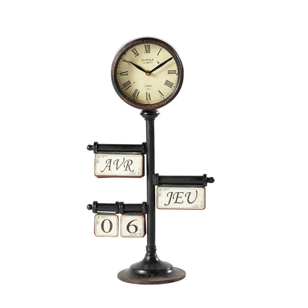 horloge calendrier poser en m tal noire d 30 cm zo maisons du monde. Black Bedroom Furniture Sets. Home Design Ideas