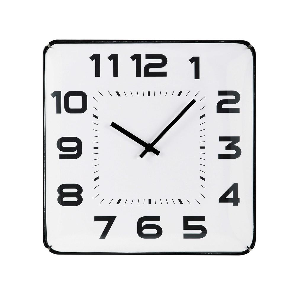 Stunning horloge carre en plastique blanche et noire l cm - Grande horloge murale blanche ...
