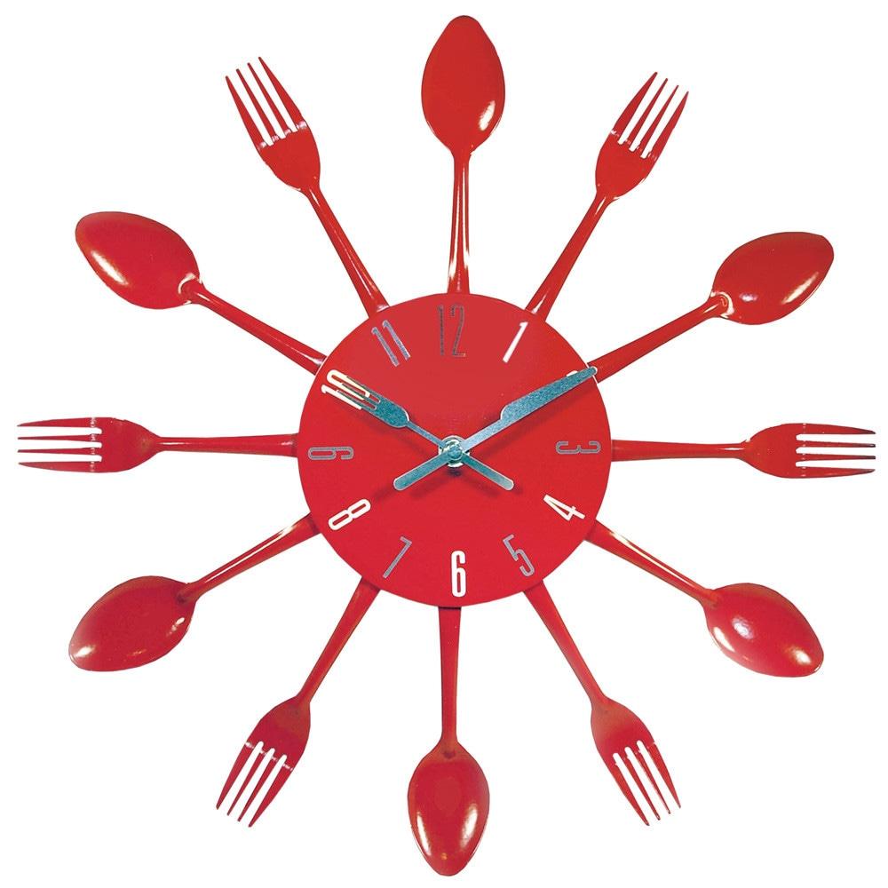 Horloge couverts cuisine rouge maisons du monde - Horloge murale cuisine rouge ...