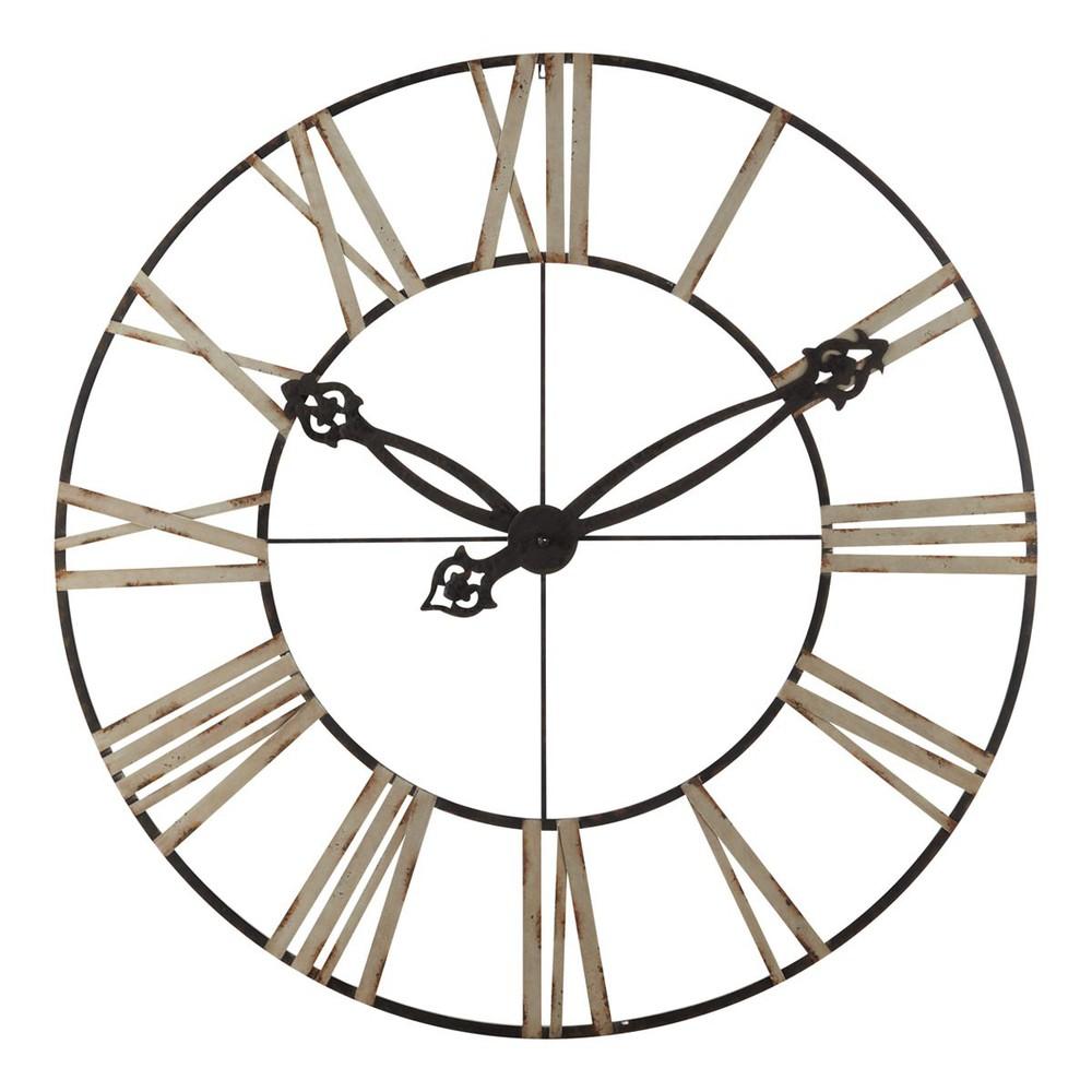 horloge d corative en m tal noire d 152 cm lincoln. Black Bedroom Furniture Sets. Home Design Ideas