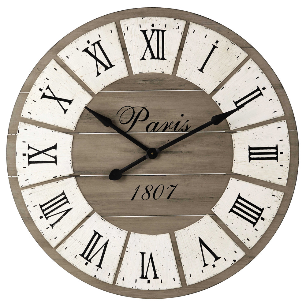 horloge en bois d 92 cm st germain maisons du monde. Black Bedroom Furniture Sets. Home Design Ideas