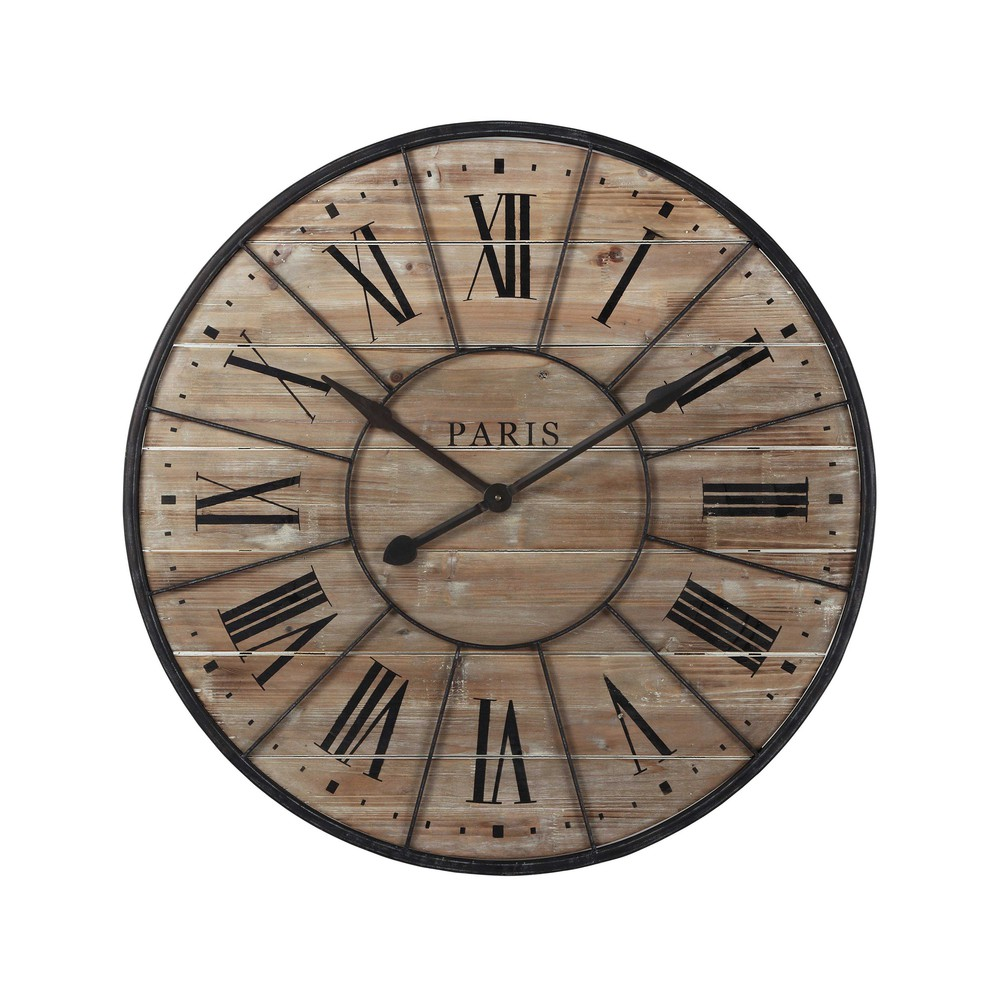 horloge en bois et m tal d 90 cm valmy maisons du monde. Black Bedroom Furniture Sets. Home Design Ideas