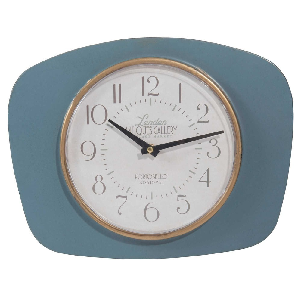 horloge en m tal bleu l 36 cm ledbury maisons du monde. Black Bedroom Furniture Sets. Home Design Ideas