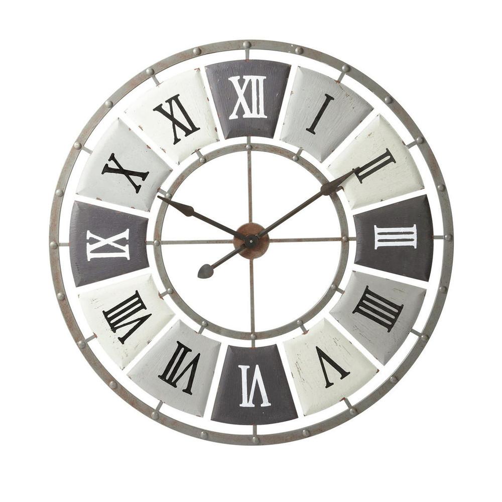 Horloge en m tal effet vieilli d 100 cm imprimerie maisons du monde - Horloge a poser maison du monde ...
