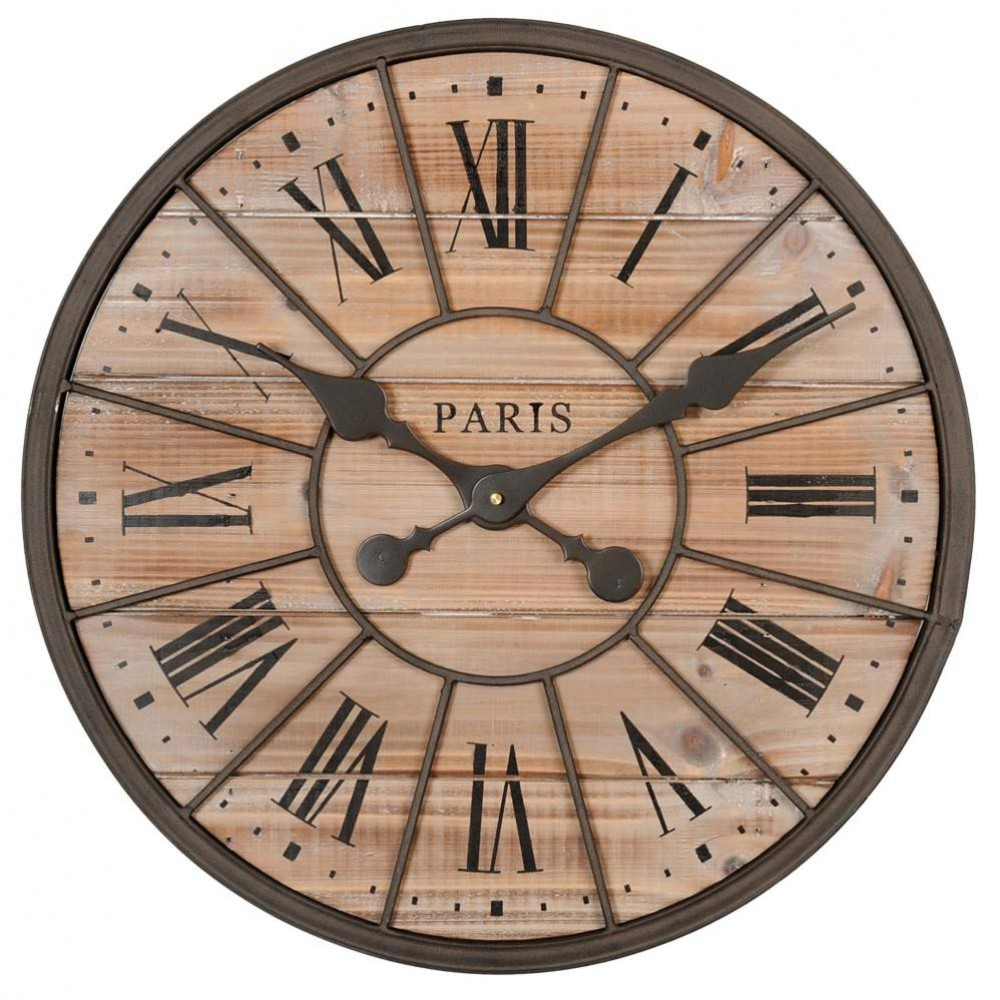 horloge en m tal et bois d 50 cm northwood maisons du monde. Black Bedroom Furniture Sets. Home Design Ideas