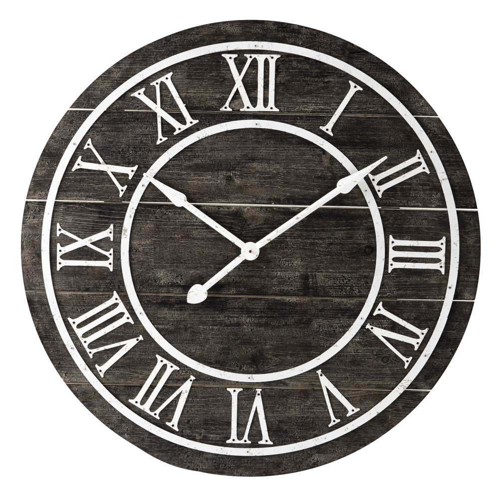 horloge en m tal et bois d 90 cm portland maisons du monde. Black Bedroom Furniture Sets. Home Design Ideas