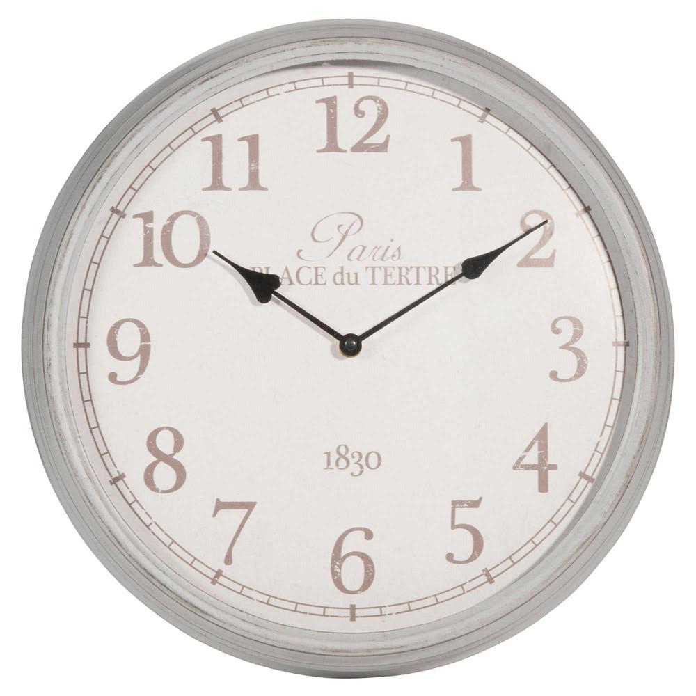 horloge en m tal grise d 39 cm l onore maisons du monde. Black Bedroom Furniture Sets. Home Design Ideas