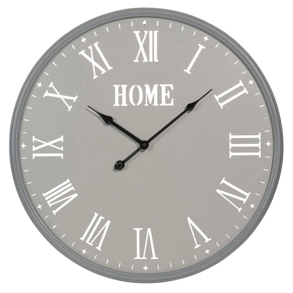 horloge en m tal grise d 50 cm alpach maisons du monde. Black Bedroom Furniture Sets. Home Design Ideas