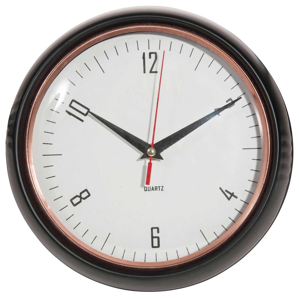 Horloge en m tal noir d 24 cm jessie maisons du monde for Horloge metal noir