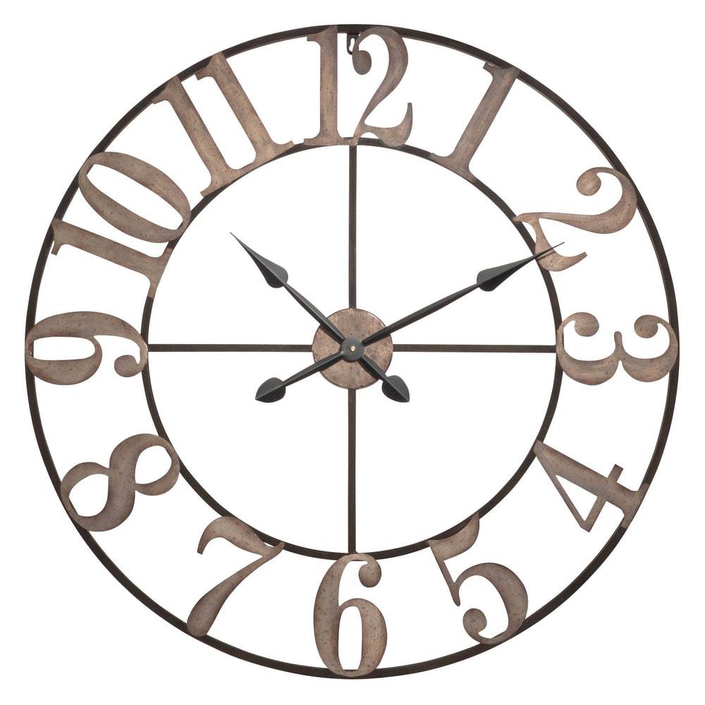 Horloge en m tal noir effet blanchi castilly for Horloge metal noir