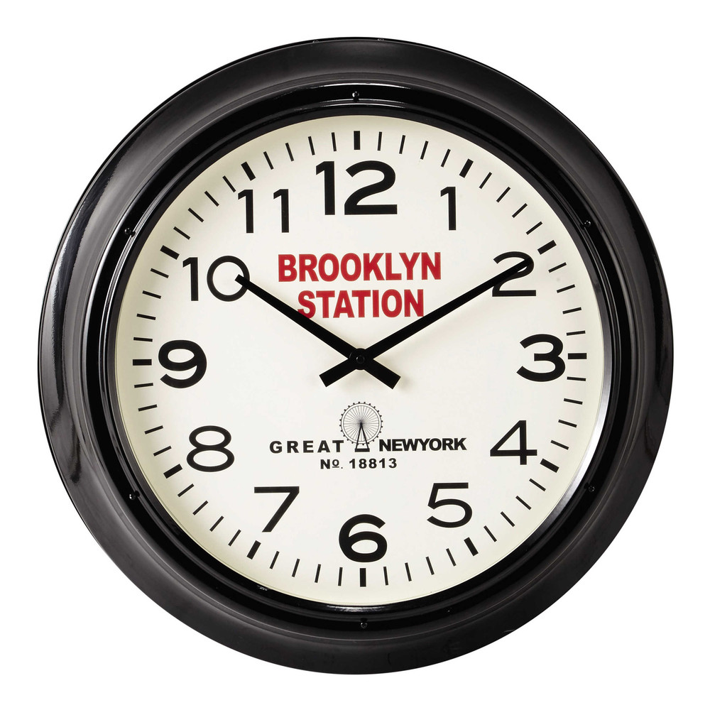 horloge en m tal noire d 60 cm brooklyn station maisons. Black Bedroom Furniture Sets. Home Design Ideas