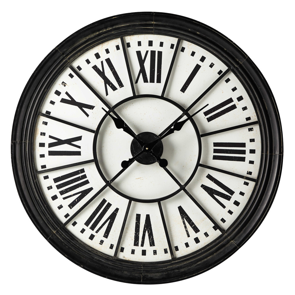 horloge en m tal noire d 91 cm montmorency maisons du monde. Black Bedroom Furniture Sets. Home Design Ideas