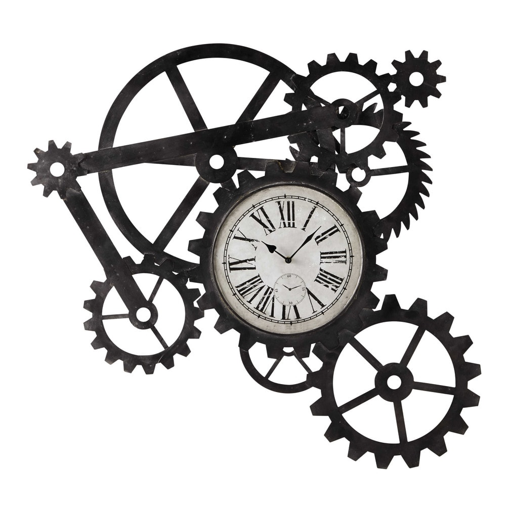 Horloge indus en m tal l 86 cm engrenage maisons du monde for Horloge murale style industriel