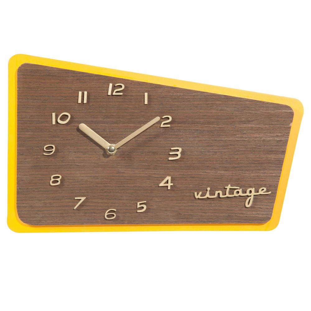 horloge jaune 18 x 30 cm seventies maisons du monde. Black Bedroom Furniture Sets. Home Design Ideas