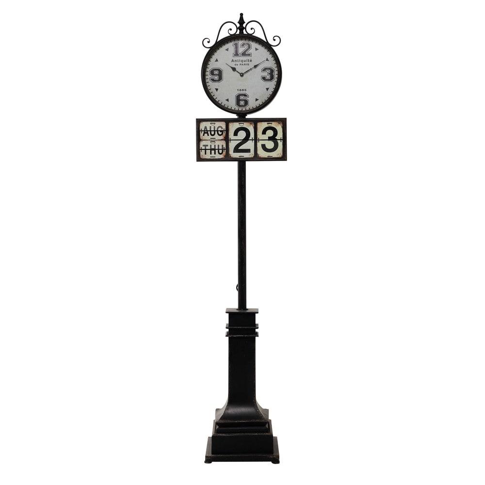 horloge sur pied en m tal noire h 206 cm antiquit de paris maisons du monde. Black Bedroom Furniture Sets. Home Design Ideas