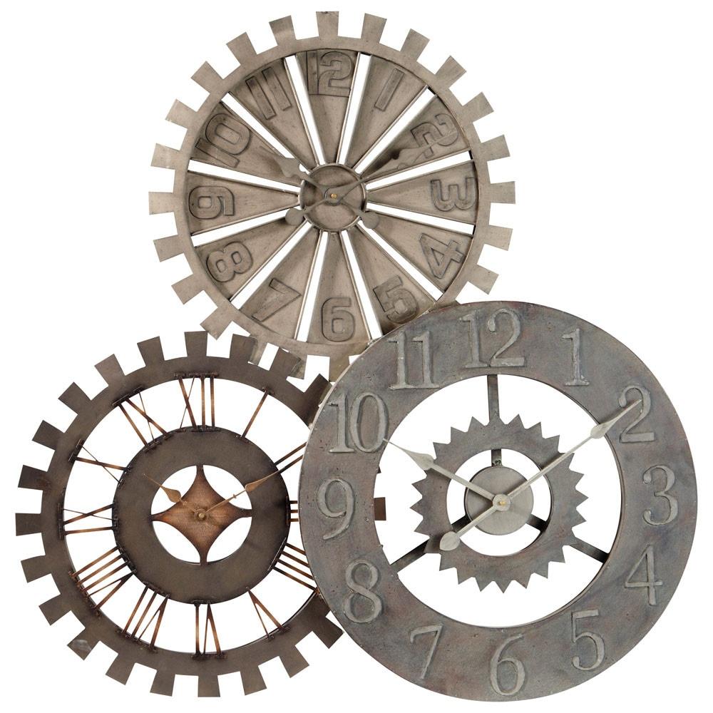 horloge triple en m tal d 92 cm rouages maisons du monde