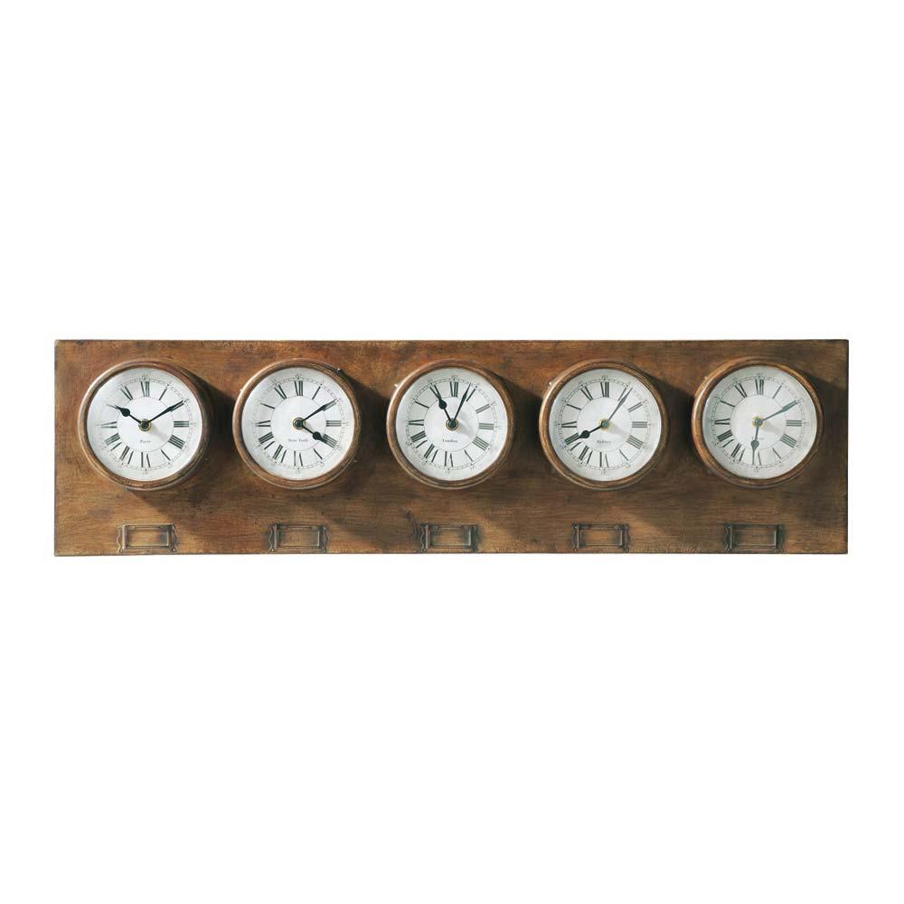 Horloges 5 cadrans en m tal effet vieilli l 88 cm for Horloge murale 3 cadrans