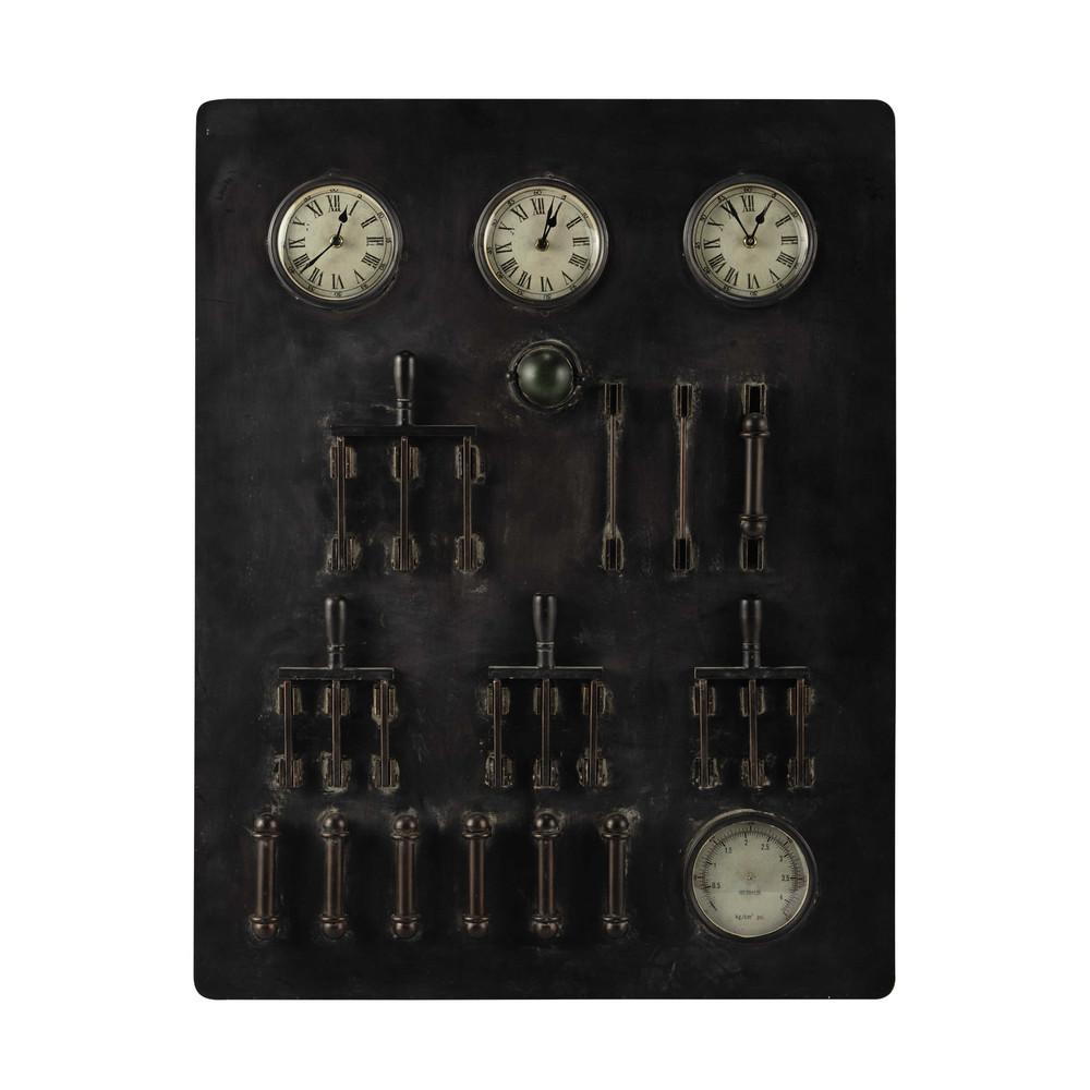horloges indus en métal noir 70 x 90 cm harrison