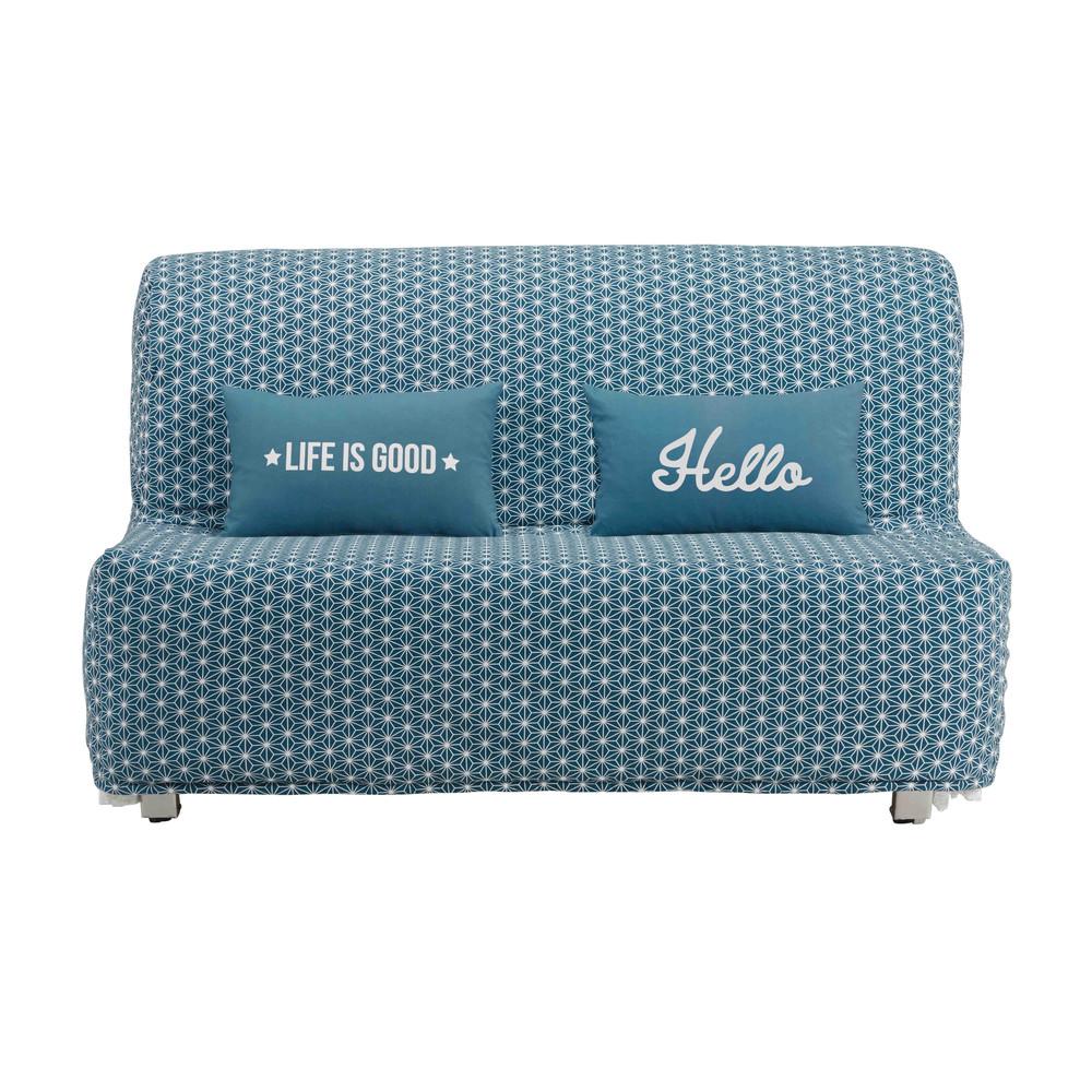 housse de canap bz en coton bleu canard imprim toiles. Black Bedroom Furniture Sets. Home Design Ideas