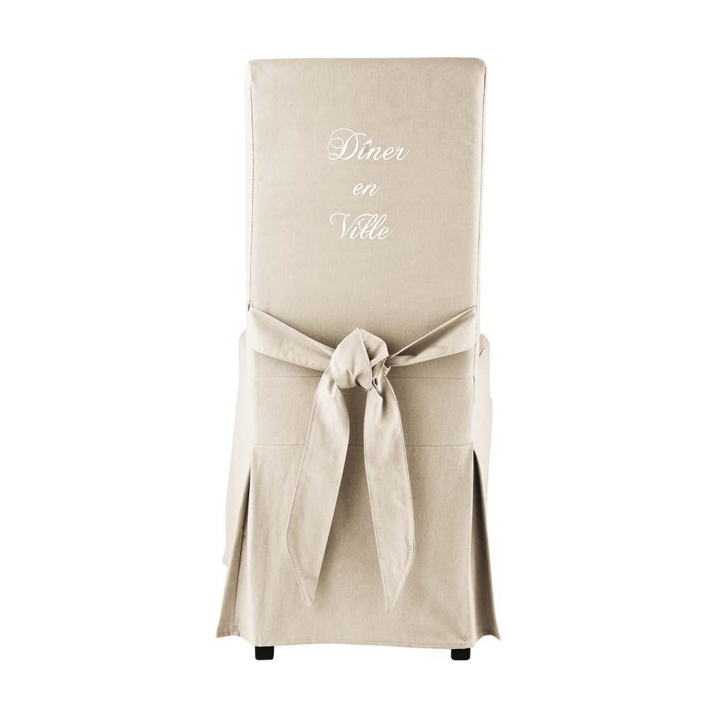 Housse de chaise avec n ud en coton cru margaux maisons - Housse de chaise maison du monde ...