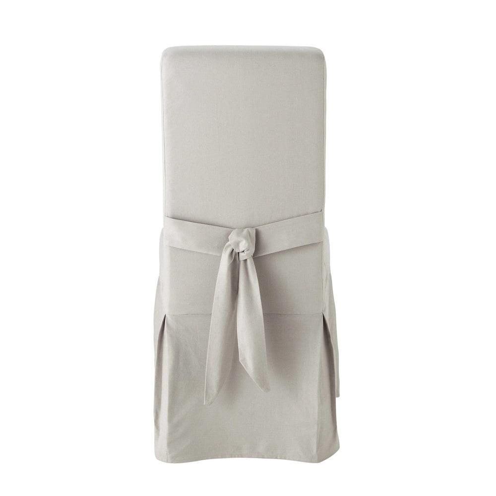 Housse de chaise avec n ud en coton gris clair margaux - Housse de chaise gris ...