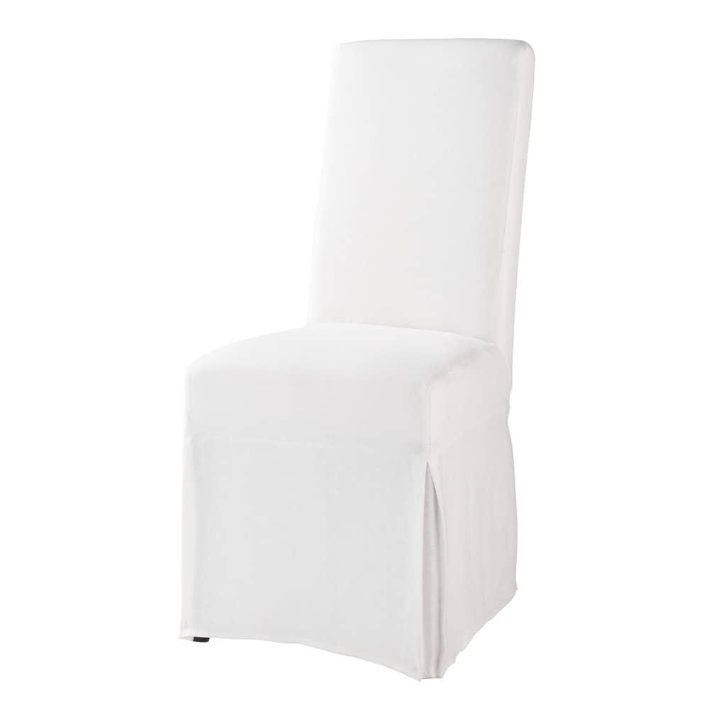 housse de chaise blanche lin margaux maisons du monde. Black Bedroom Furniture Sets. Home Design Ideas