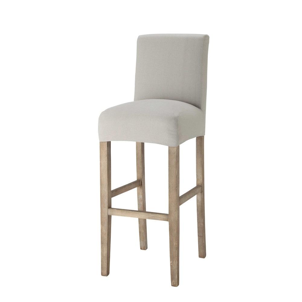 Housse de chaise de bar en coton gris clair boston - Housse de chaise gris ...