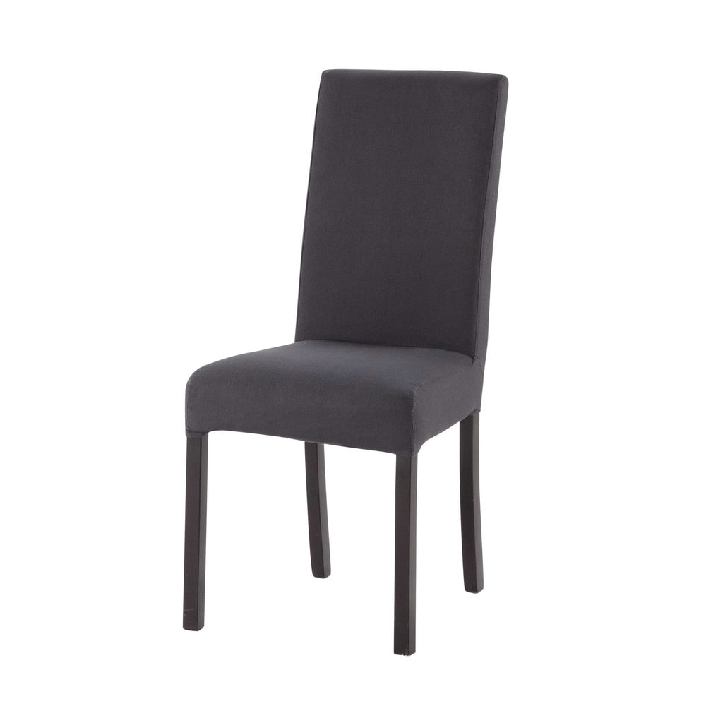 housse de chaise en coton anthracite margaux maisons du. Black Bedroom Furniture Sets. Home Design Ideas