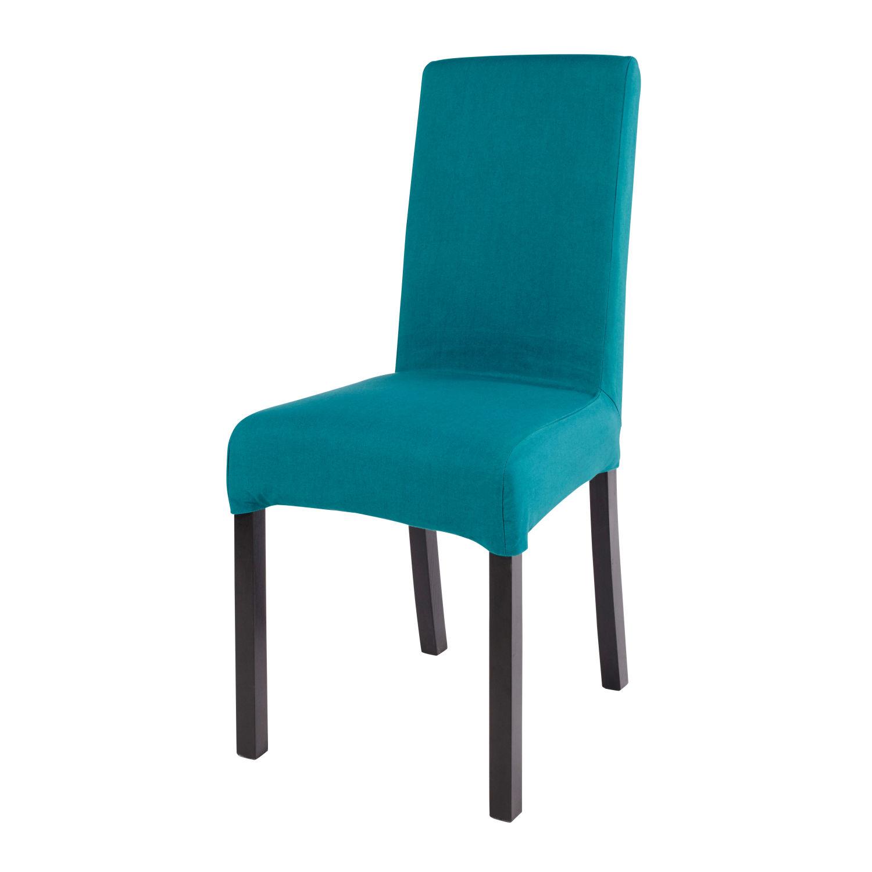 Housse De Chaise En Coton Bleu Canard 41x70 Margaux
