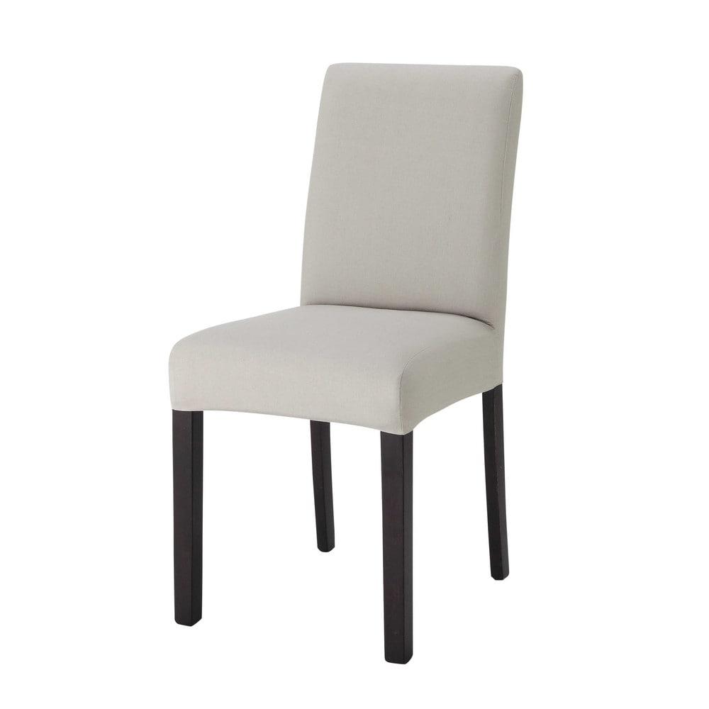 Housse de chaise en coton gris clair tempo maisons du monde for Housse de chaise rose