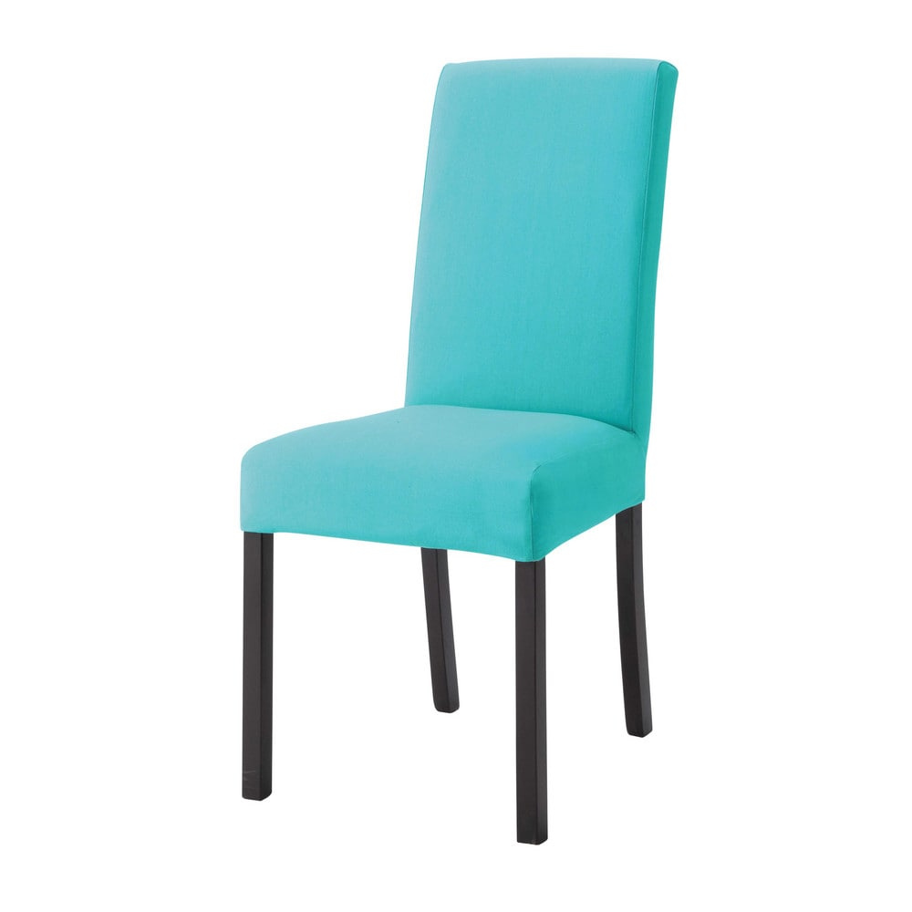 housse de chaise en coton turquoise margaux maisons du monde. Black Bedroom Furniture Sets. Home Design Ideas