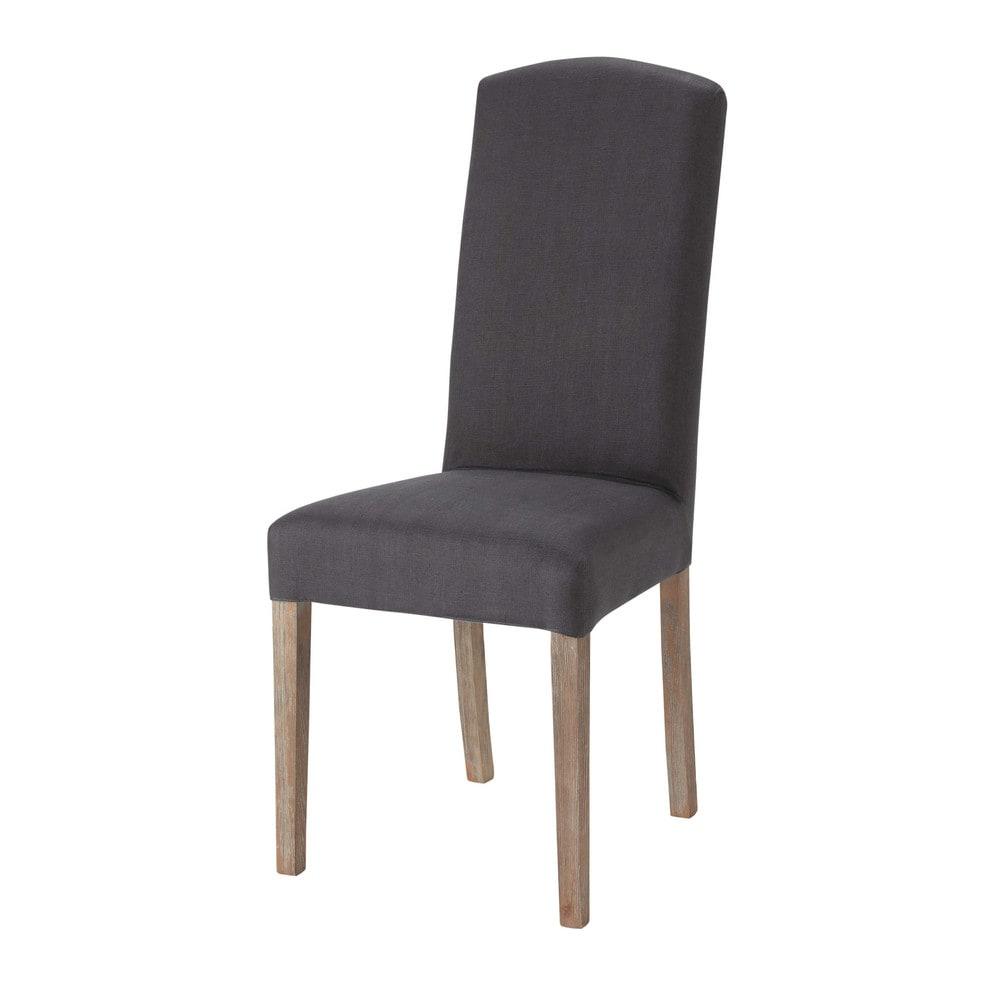 housse de chaise en lin anthracite alice maisons du monde. Black Bedroom Furniture Sets. Home Design Ideas