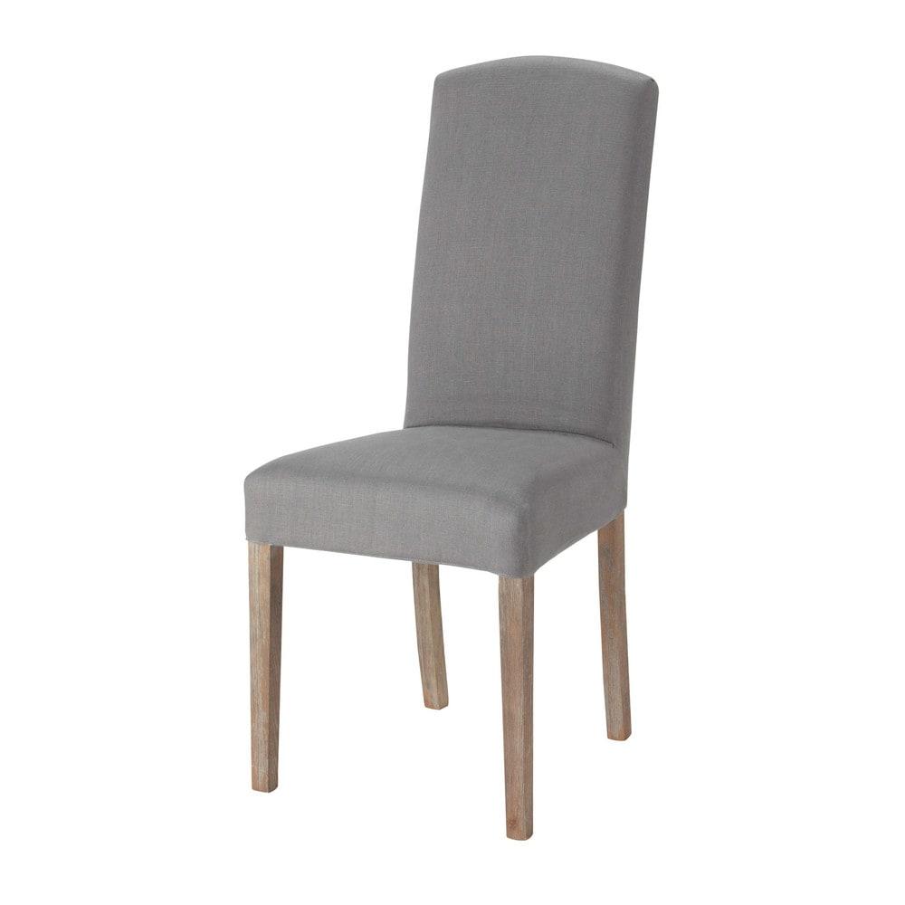 Housse de chaise en lin grise alice maisons du monde for Chaise salon grise