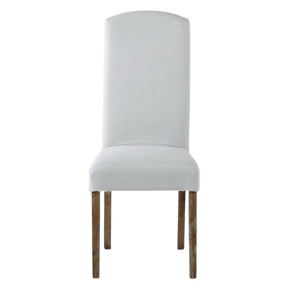 housse de chaise en lin lav bleu glacier alice maisons. Black Bedroom Furniture Sets. Home Design Ideas
