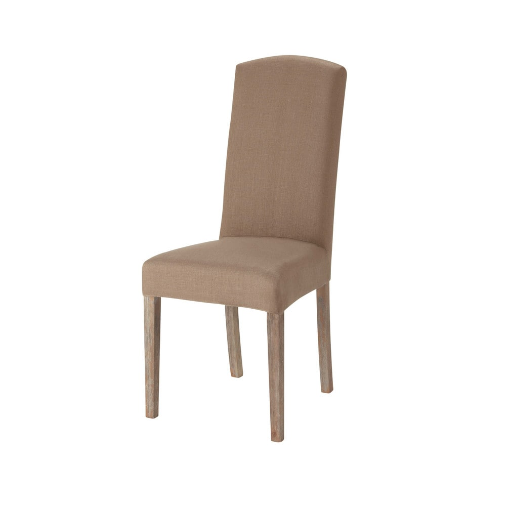 Housse de chaise en lin marron glac alice maisons du monde - Chaise a housser ...